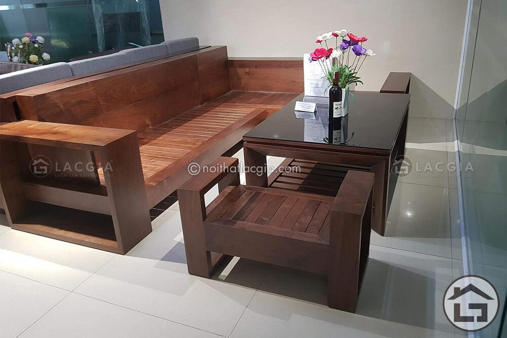 Bàn ghế sofa gỗ chữ L cho chung cư