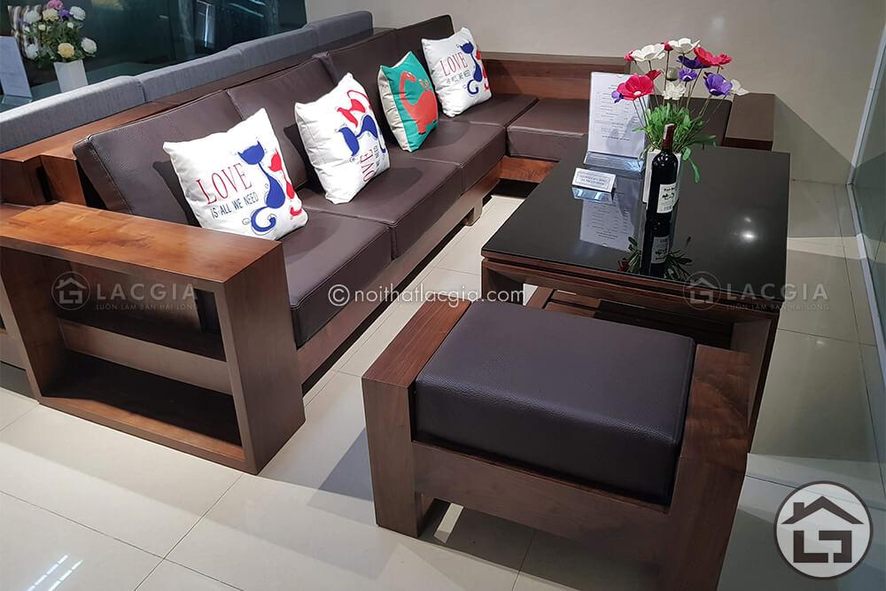 Sofa gỗ chữ L đẹp, giá rẻ tại Nội Thất Lạc Gia