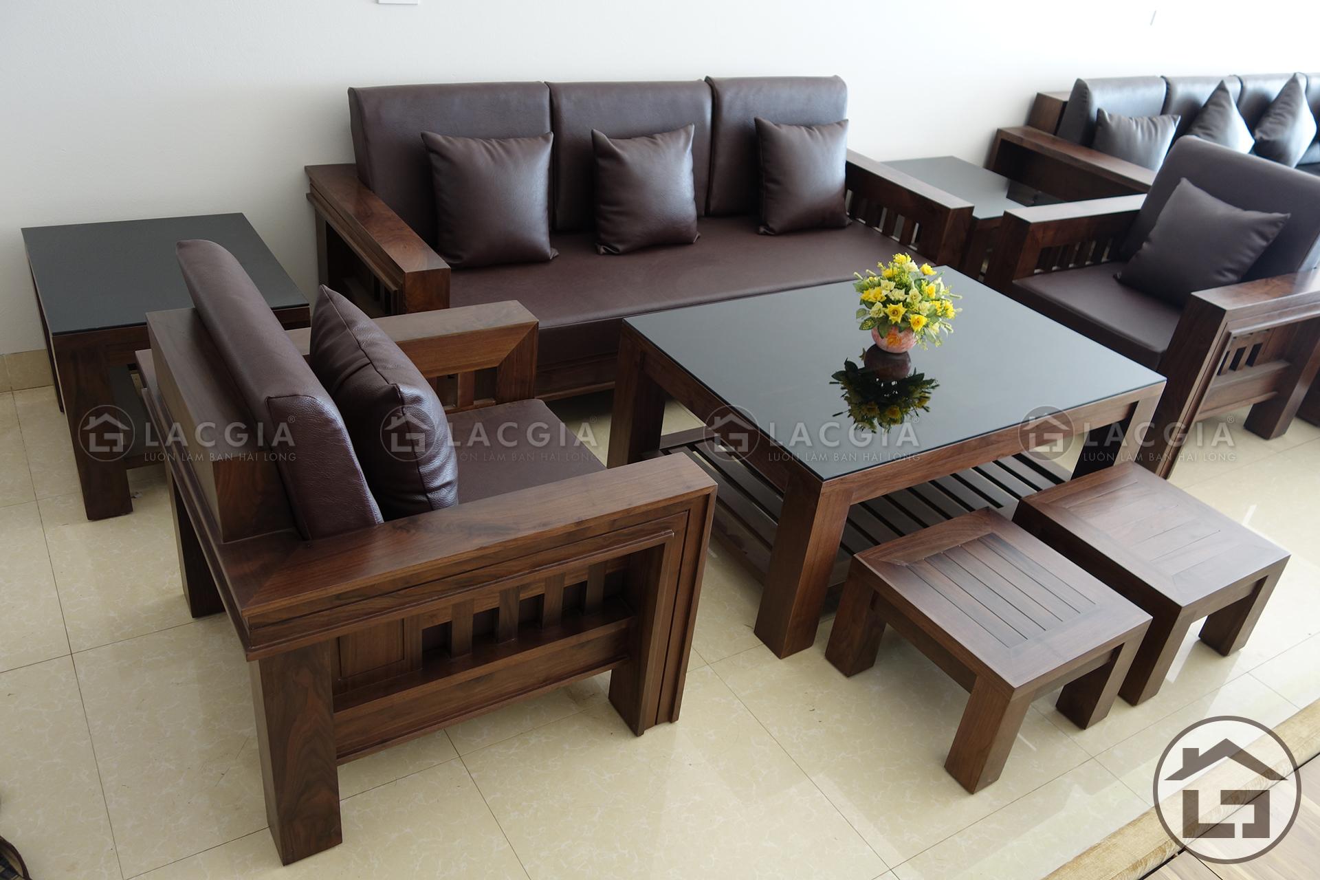 Bàn ghế gỗ óc chó cho không gian phòng khách sang trọng