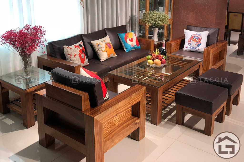Bàn ghế gỗ phòng khách cao cấp với vẻ đẹp thời thượng