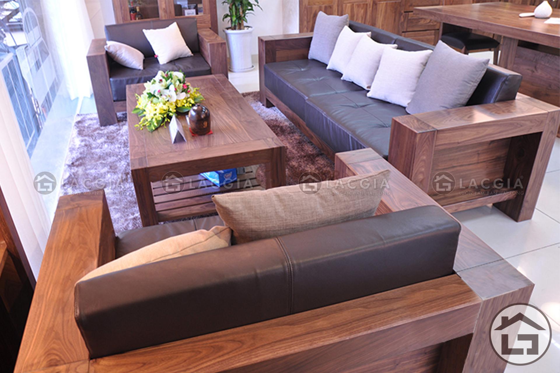 Bàn ghế gỗ cho không gian phòng khách đẹp