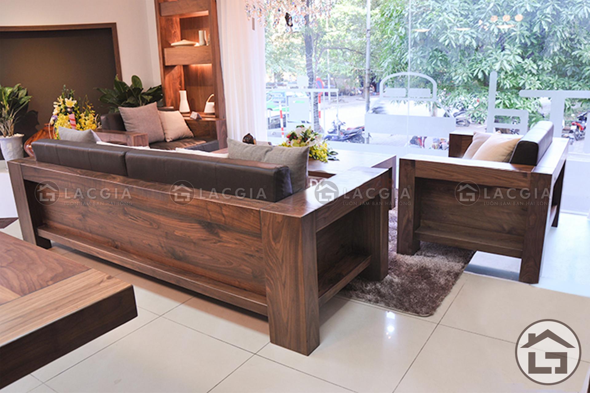 Bàn ghế sofa gỗ cao cấp với chất liệu gỗ óc chó