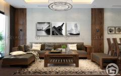 Bàn ghế sofa gỗ chữ L với phong cách hiện đại