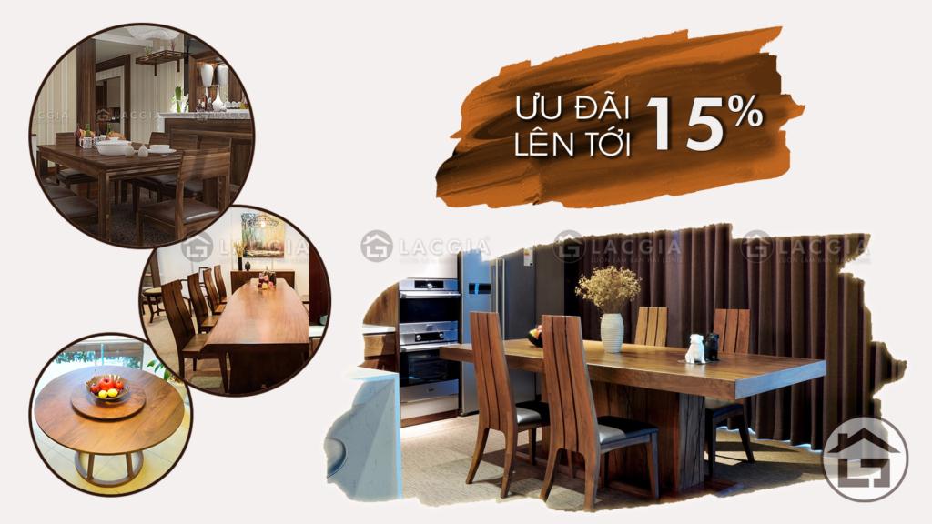 khuyen mai ban an 1024x576 - Bàn ghế ăn gỗ cao cấp BA20