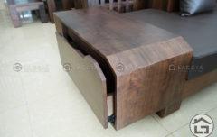 Sofa gỗ chữ L với bản gỗ to chắc chắn