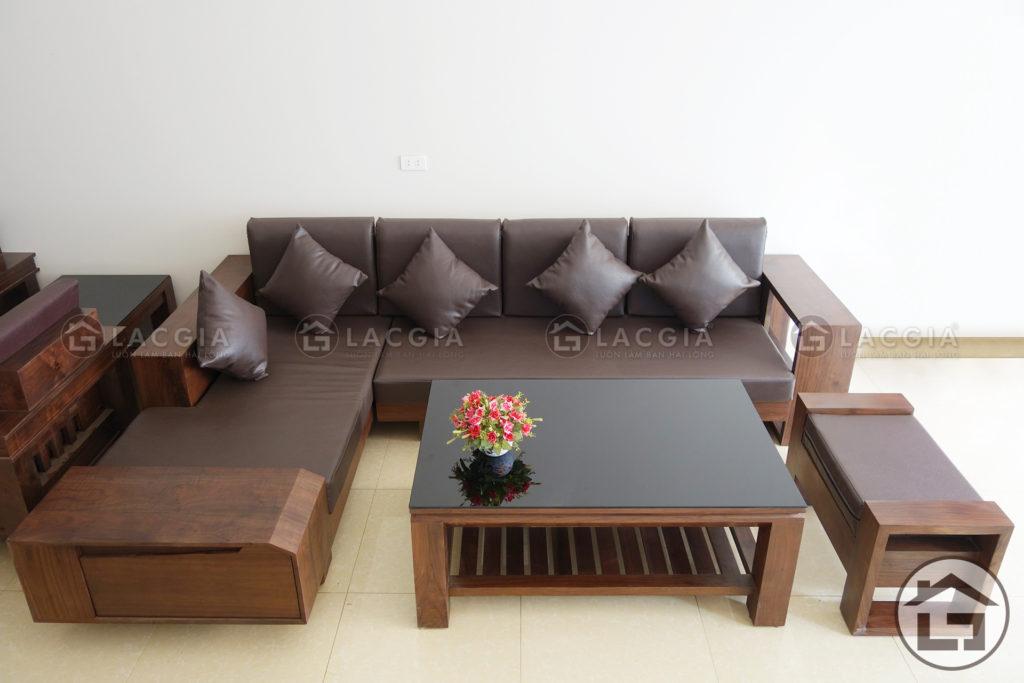 Sofa gỗ chữ L giá rẻ cho chung cư hiện đại
