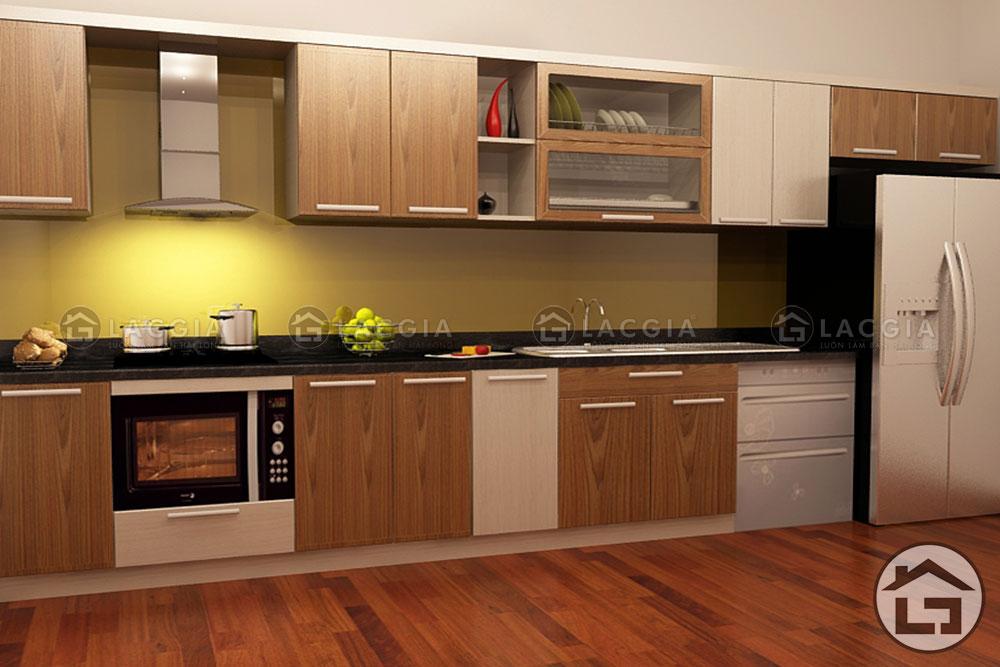 tu bep go 05 - Tủ bếp gỗ tự nhiên TB04