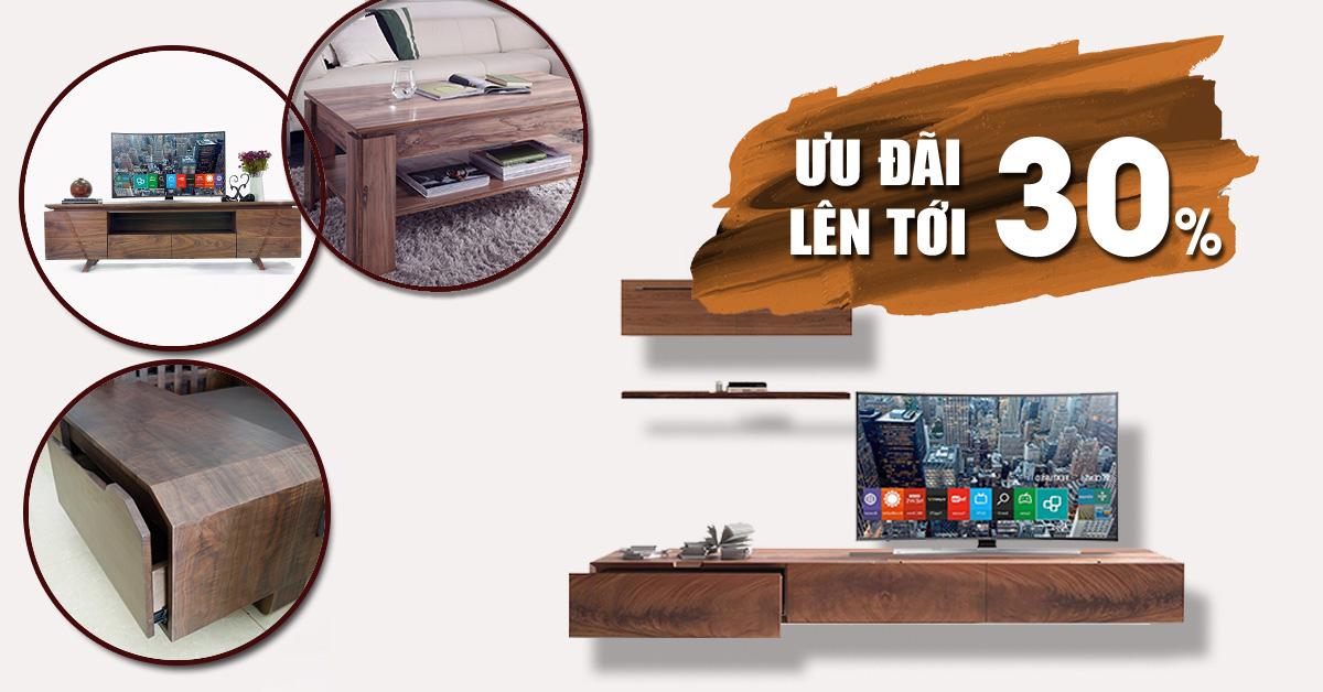 tu ke ti vi phong khach 2 - Sofa gỗ LV óc chó hiện đại