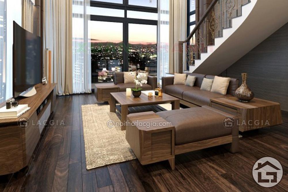 Bài trí bàn ghế sofa gỗ phòng khách tự do