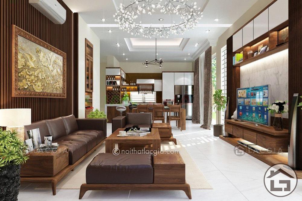 Bộ sofa gỗ cho phòng khách SF06 nổi bật giữa căn phòng