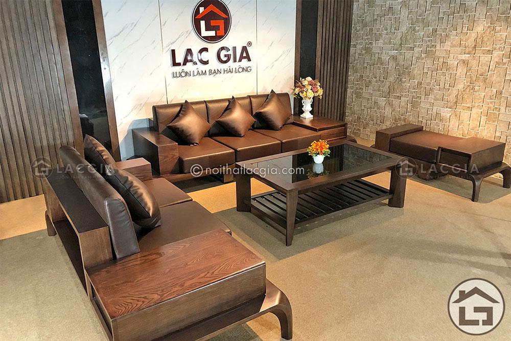 Sofa gỗ cao cấp SF10 kết hợp bàn trà gỗ BT03