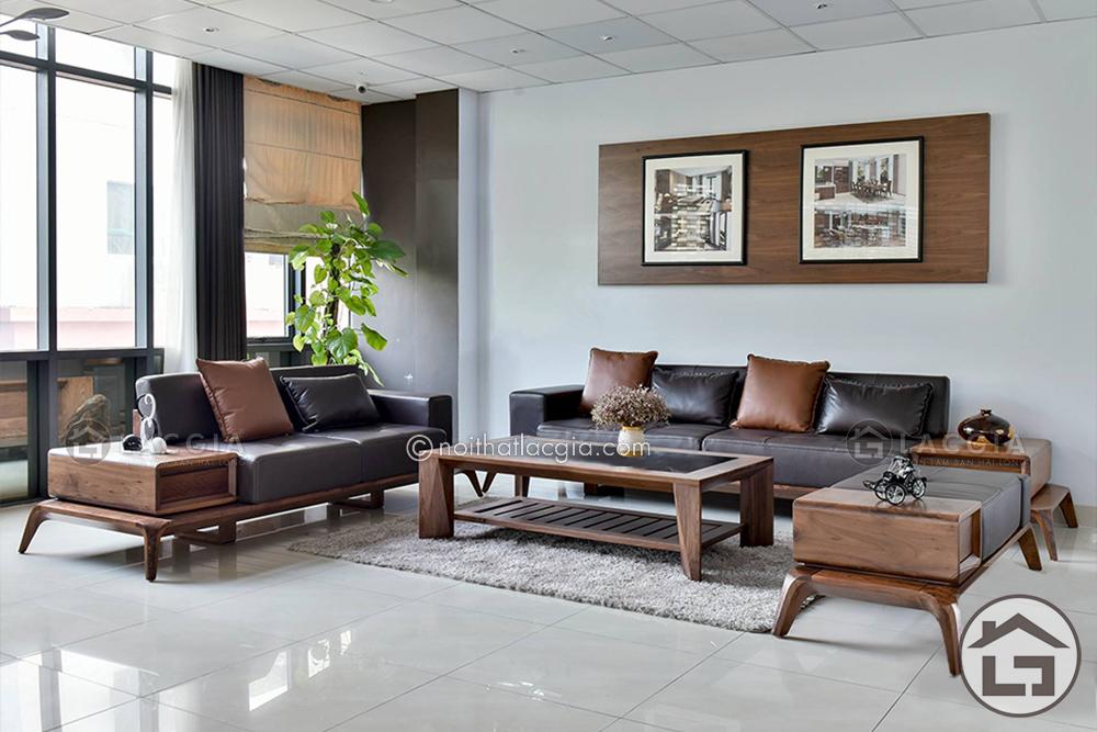 Có nên chọn mua ghế sofa gỗ cao cấp bọc vải nỉ hay bọc da cho liền kề