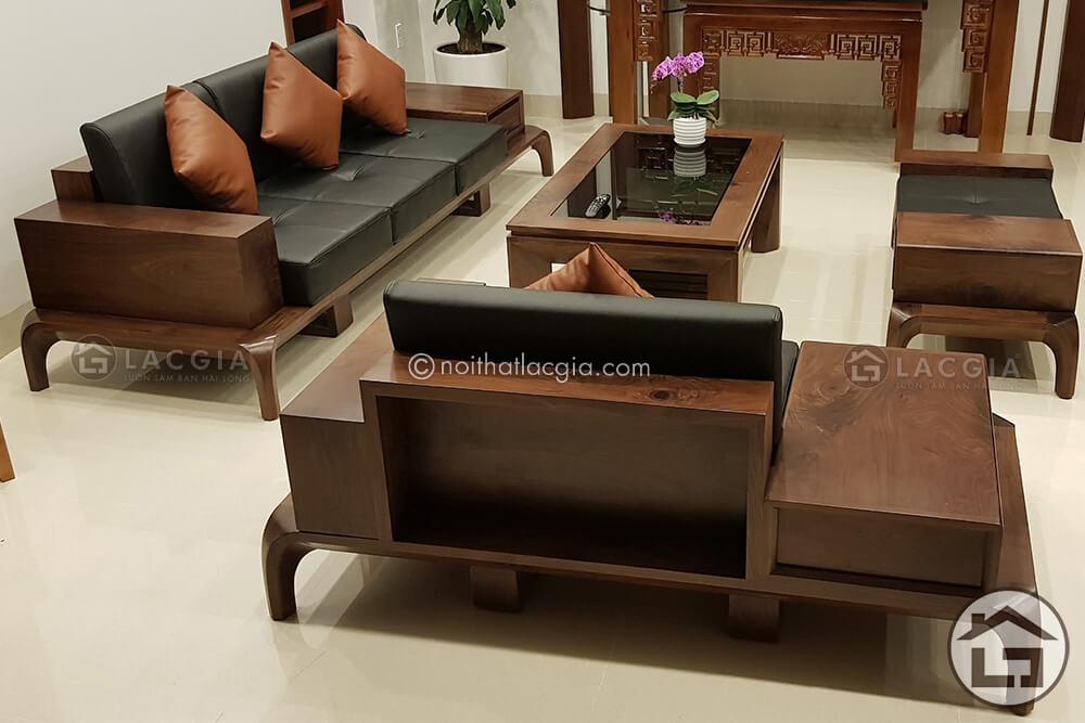 Sofa gỗ óc chó với phong cách thiết kế hiện đại