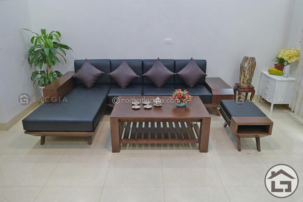 Bàn ghế sofa gỗ chữ L có ngăn kéo SF05, Sofa gỗ đơn giản nhưng đầy tinh tế trong từng đường nét