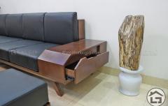 Sofa gỗ chữ L với ngăn kéo tiện lợi