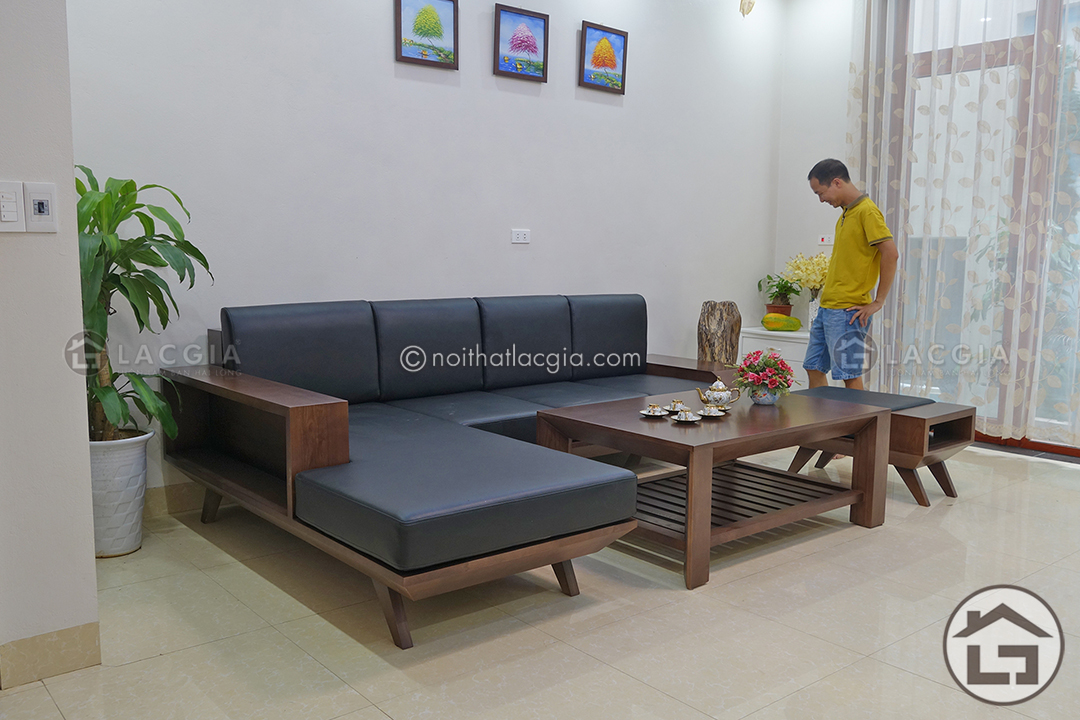Bộ bàn ghế sofa gỗ SF05 có kiểu dáng hiện đại