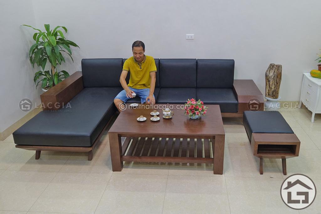 Sofa gỗ góc chữ L cùng bàn trà gỗ hiện đại