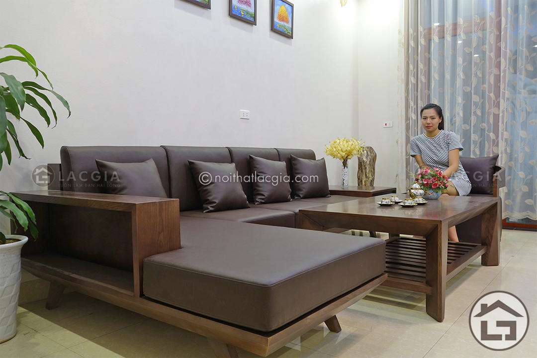 Bàn ghế sofa góc với chất liệu gỗ sồi cao cấp