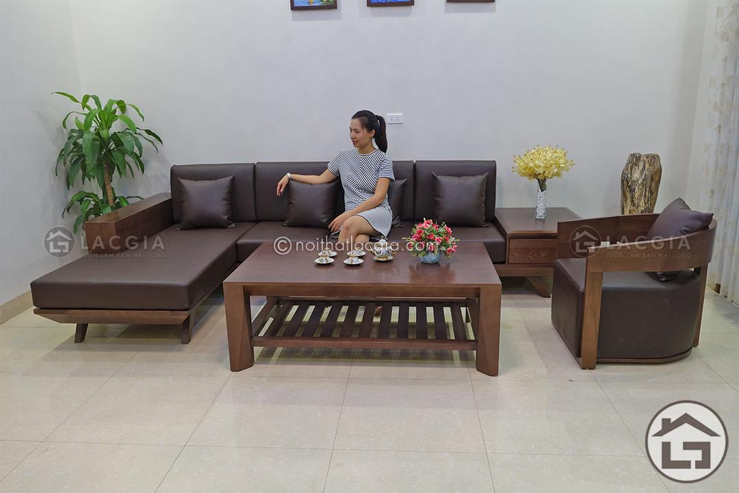 Lựa chọn sofa gỗ chữ L cho phòng khách vừa và nhỏ