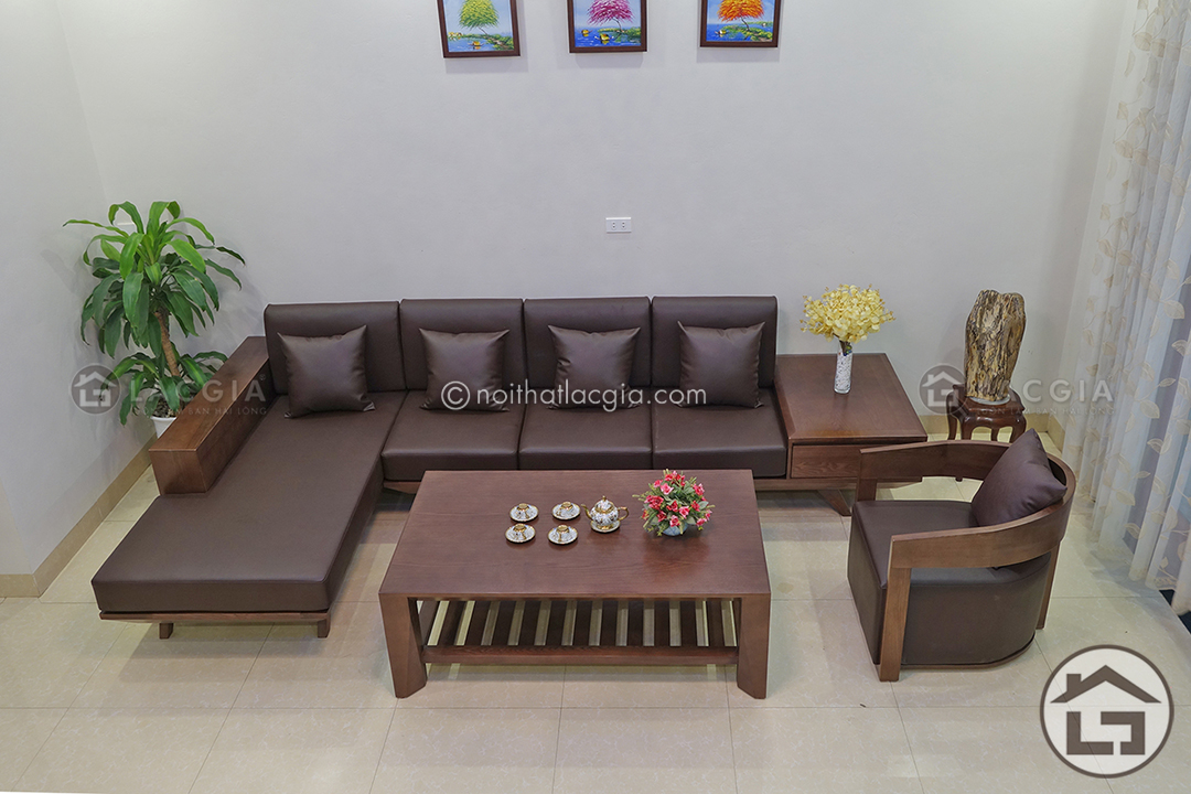 Sofa gỗ góc chữ L đẹp SF11