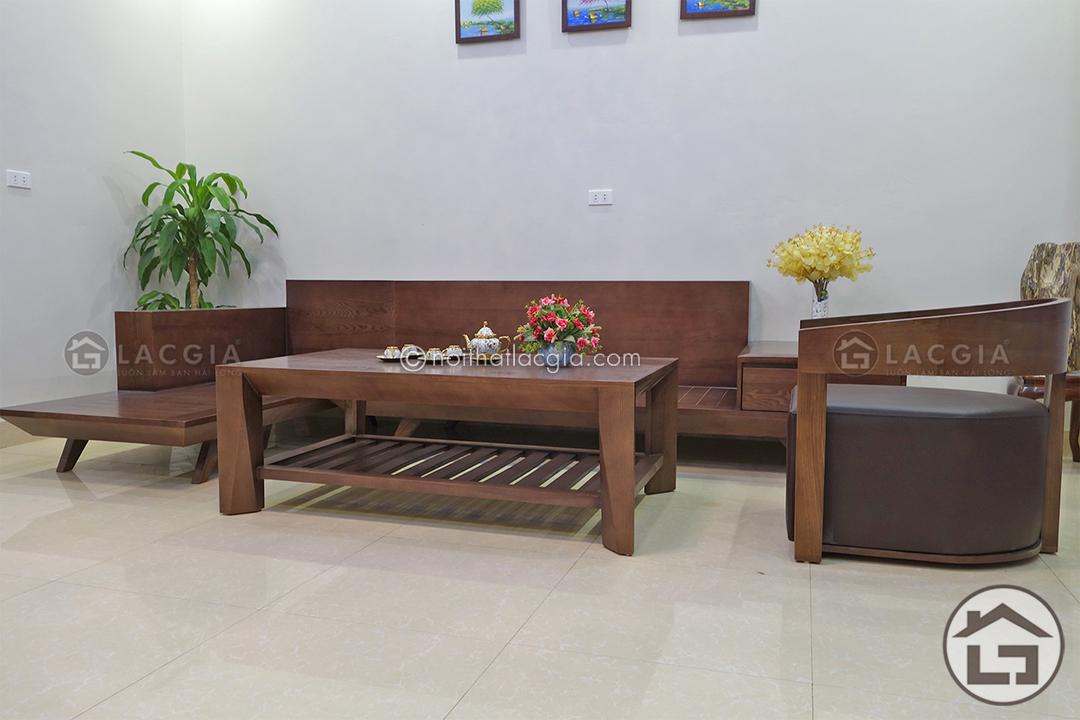 Phần gỗ của bộ sofa gỗ chữ L được xử lý bằng những công nghệ hiện đại