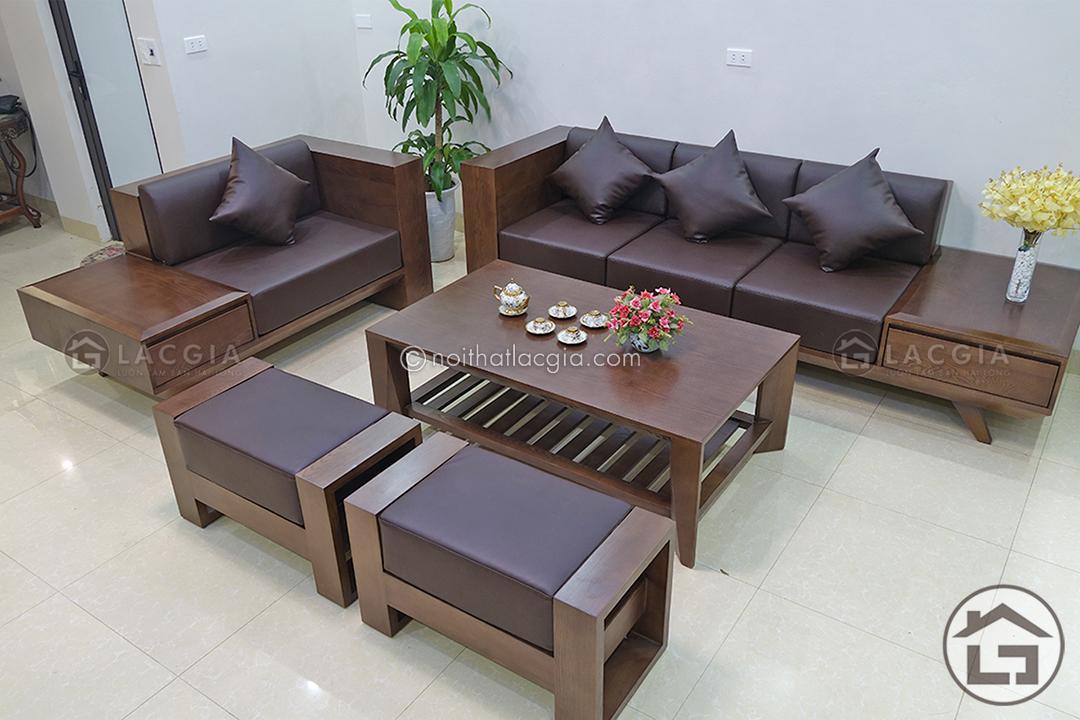 Sofa gỗ hiện đại cho phòng khách chung cư