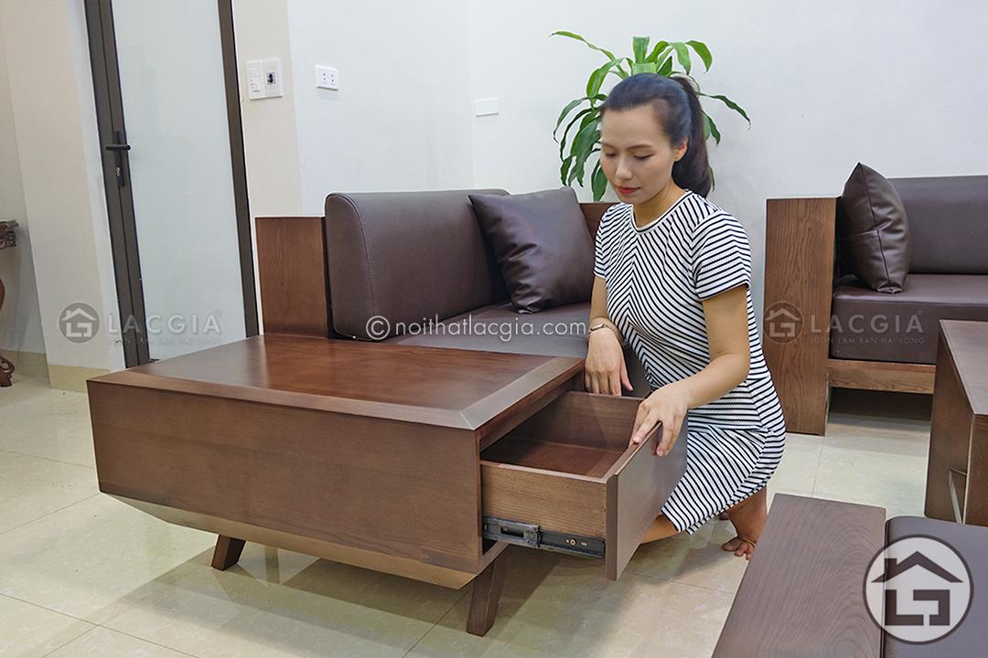 Sofa gỗ phòng khách với ngăn kéo tiện lợi
