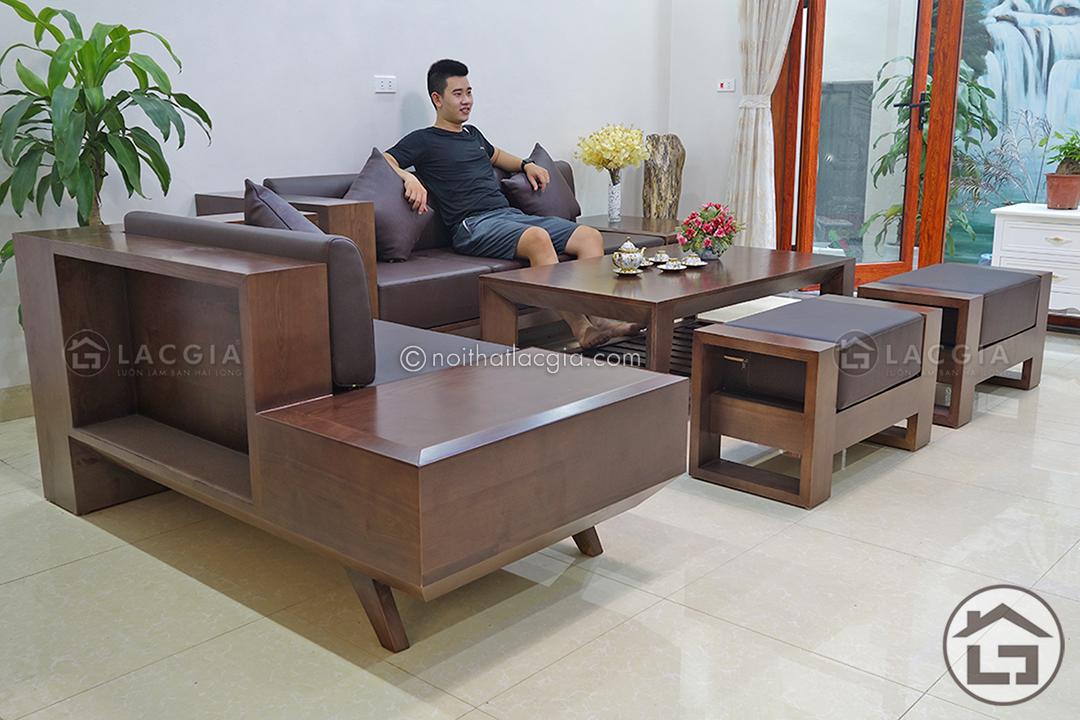Sofa gỗ sồi Nga với phong cách thiết kế hiện đại