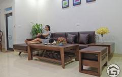Bàn ghế sofa góc gỗ hiện đại cho căn hộ chung cư