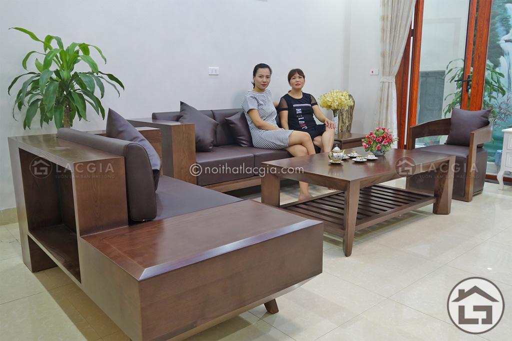 Bộ bàn ghế sofa gỗ hiện đại cho phòng khách SF09