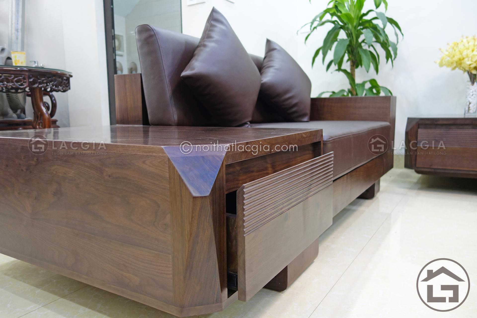 sofa gỗ có ngăn kéo, sofa gỗ phòng khách