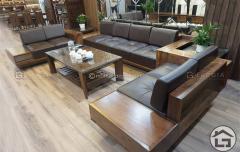 Sofa gỗ chữ U thiết kế sang trọng
