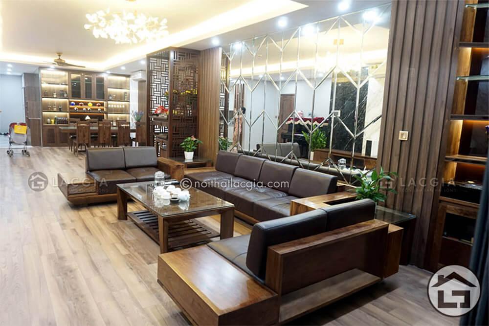Sofa go cao cap 2 - Ưu nhược điểm của sofa gỗ bọc đệm da và nỉ