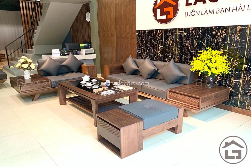 Sofa gỗ óc chó hiện đại cho phòng khách sang trọng