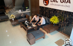 Sofa gỗ cao cấp với chất liệu gỗ óc chó