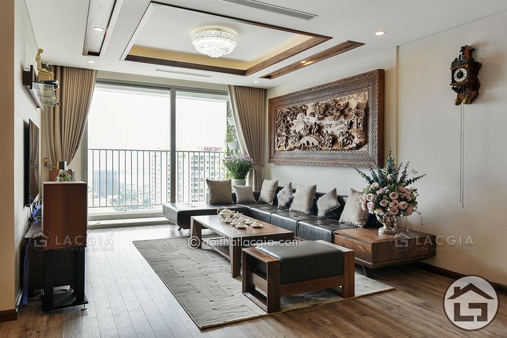 Sofa gỗ chữ L giúp tối ưu diện tích hiệu quả