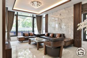 Sofa gỗ chữ L cho phòng khách hiện đại