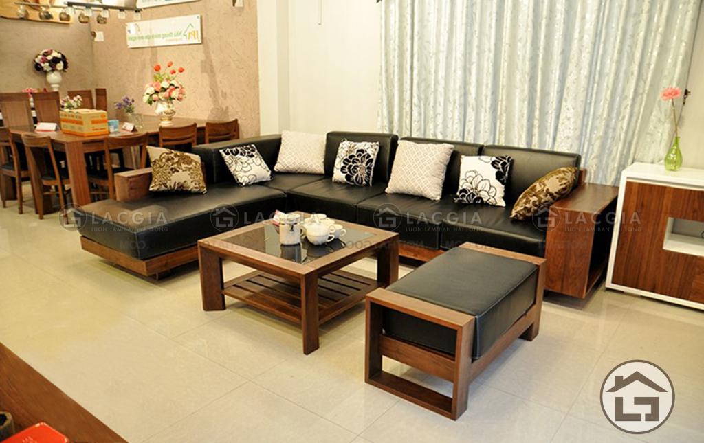 Sofa gỗ cao cấp kết hợp bàn trà khối vuông