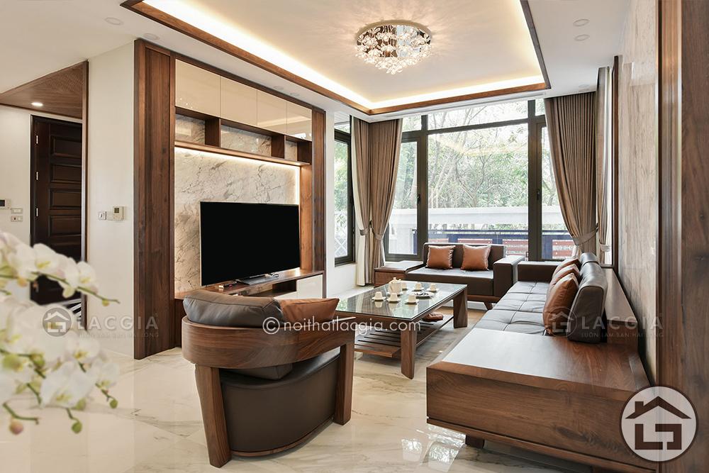 Sofa gỗ cao cấp sẽ làm nổi bật được không gian phòng khách nhà bạn
