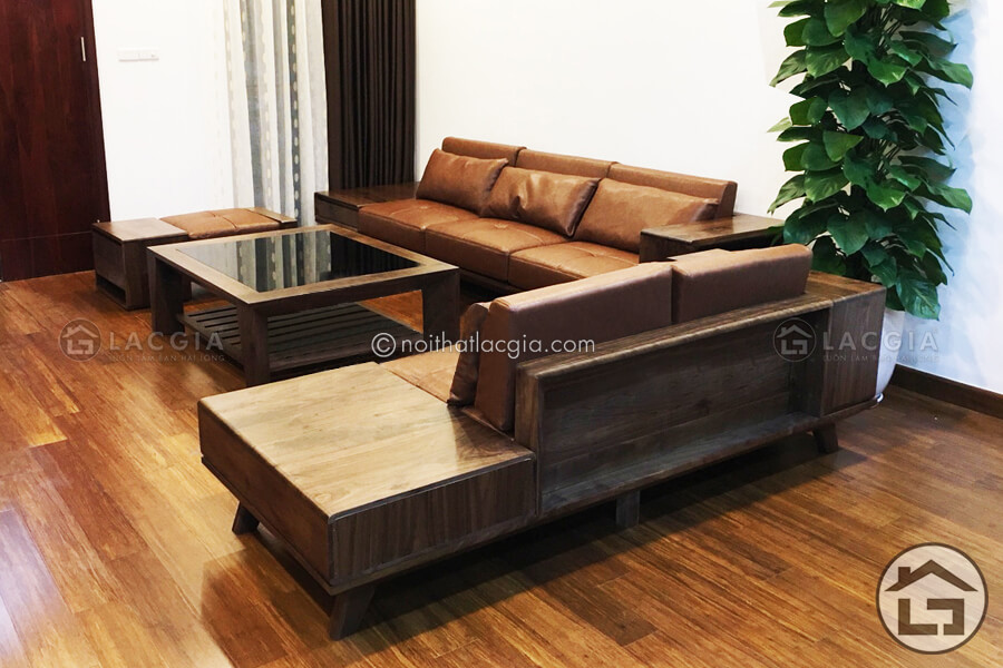 Sofa gỗ sồi đẹp, sang trọng tại Nội Thất Lạc Gia 2