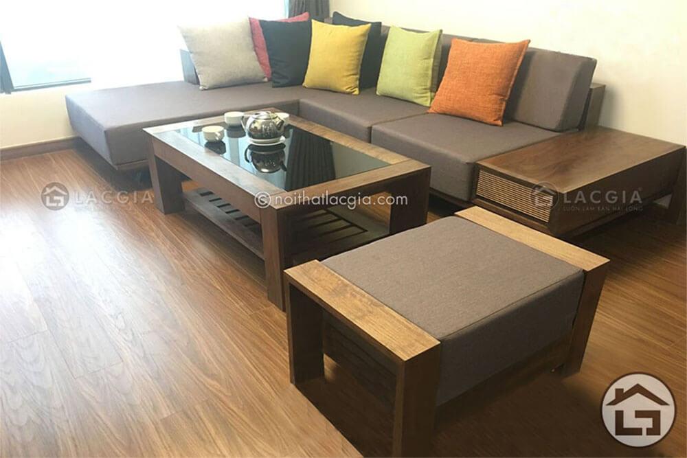 Sofa gỗ bọc nỉ chữ L tại Hà Nội