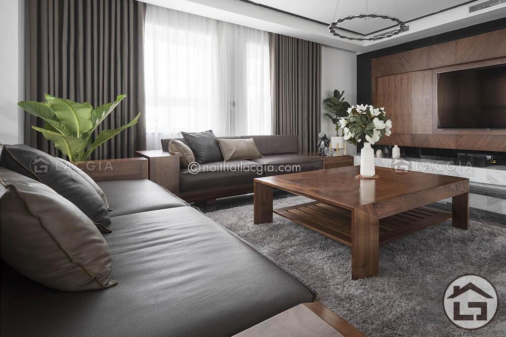 sofa go dang cap SF19 1 - Cách chọn thảm trải sàn sofa gỗ đẹp cho không gian phòng khách