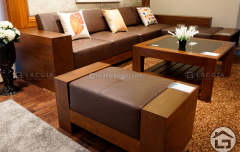 Sofa gỗ chữ L cao cấp cho phòng khách đẹp