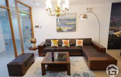 Sofa gỗ chữ L hiện đại cho phòng khách nhỏ hẹp