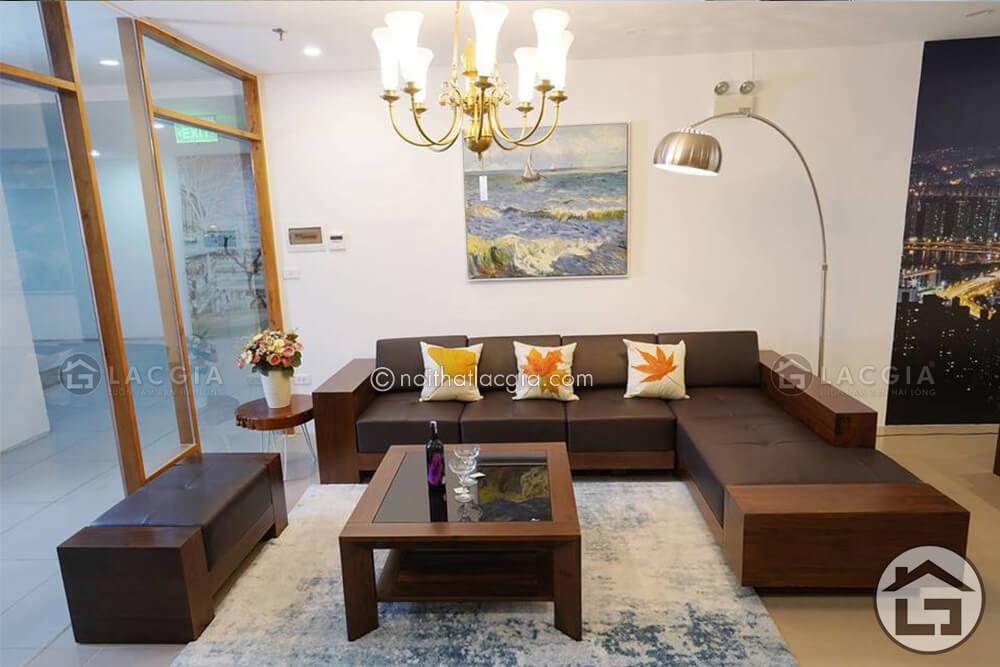 sofa go hien dai SF20 - Cách chọn thảm trải sàn sofa gỗ đẹp cho không gian phòng khách