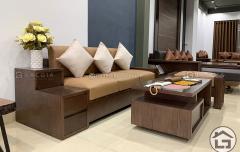 Sofa gỗ nhỏ gọn cho chung cư giúp hạn chế tối đa không gian diện tích