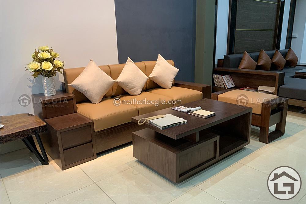 sofa go nho gon SF15 4 - Những kiểu dáng sofa gỗ phòng khách phổ biến hiện nay
