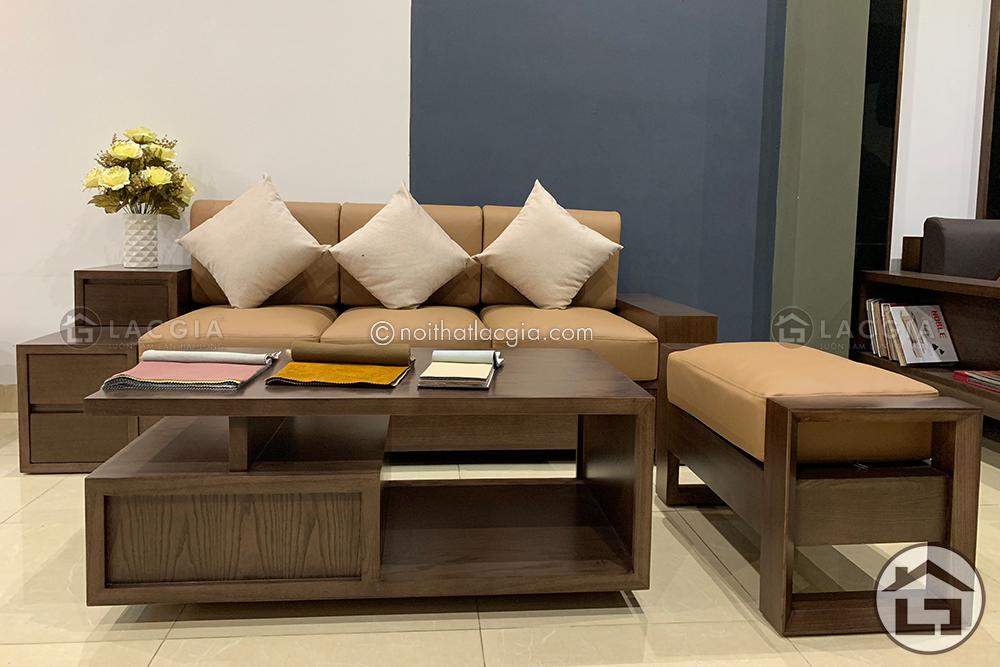 Bàn ghế sofa gỗ nhỏ gọn tại Nội Thất Lạc Gia