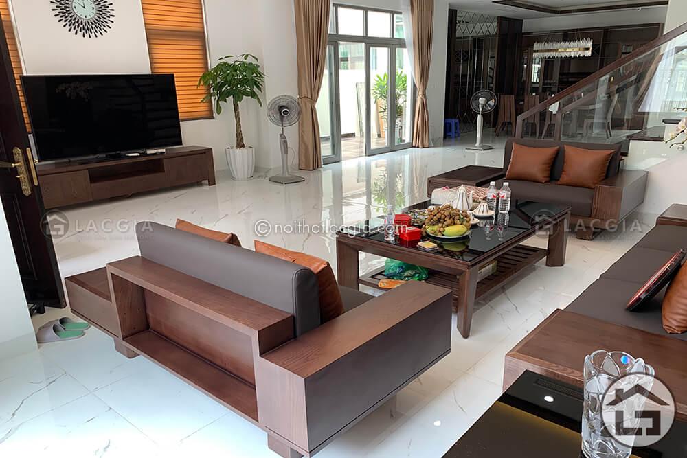 Sofa go hinh chu U - Sofa gỗ óc chó cao cấp SF29 Plus