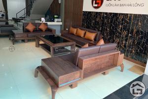 Bàn ghế sofa gỗ óc chó chữ U với những ưu điểm vượt trội